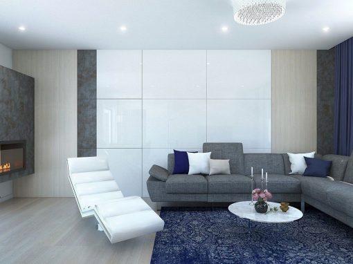 Návrh domu s modrými akcentami – Šurany
