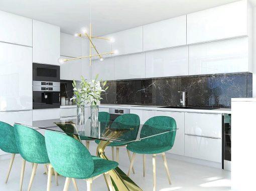 Návrh bytu v štýle Glamour a Art Déco – Rezidencia Nová Koliba, Bratislava